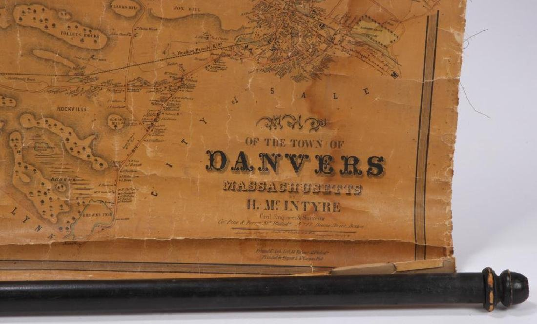 RARE 1852 MAP OF DANVERS, MA by HENRY McINTYRE - 2