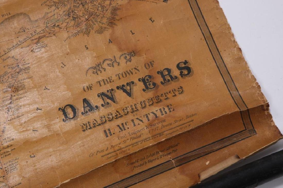 RARE 1852 MAP OF DANVERS, MA by HENRY McINTYRE - 3