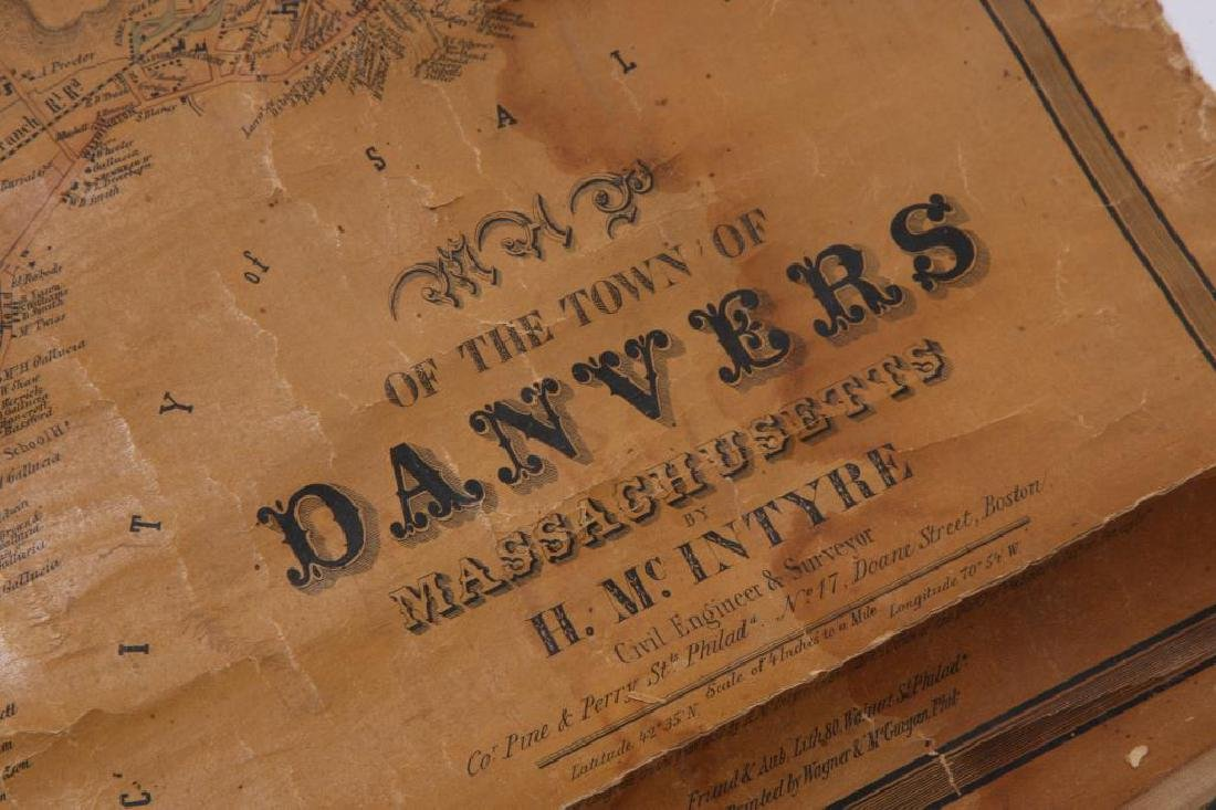 RARE 1852 MAP OF DANVERS, MA by HENRY McINTYRE - 4