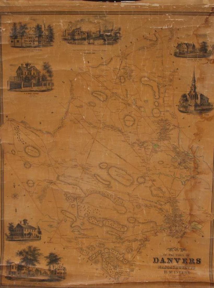 RARE 1852 MAP OF DANVERS, MA by HENRY McINTYRE - 5
