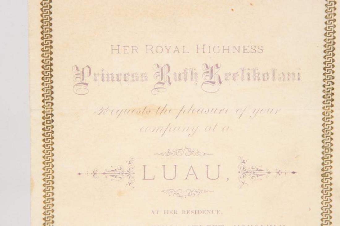 PRINCESS RUTH KEELIKOLANI HAWAII LUAU INVITATION - 2