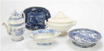 5 PIECES OF LEEDS STAFFORDSHIRE AND SOFT PASTE