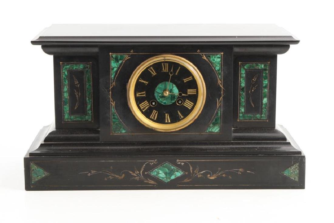 TIFFANY & CO BLACK ONYX & MALACHITE MANTLE CLOCK