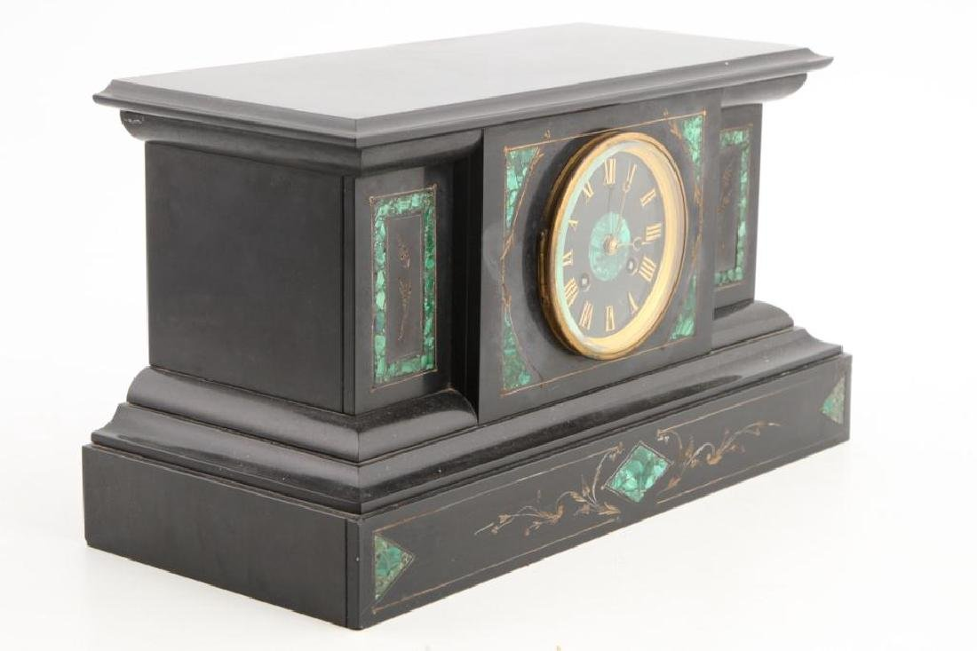 TIFFANY & CO BLACK ONYX & MALACHITE MANTLE CLOCK - 2