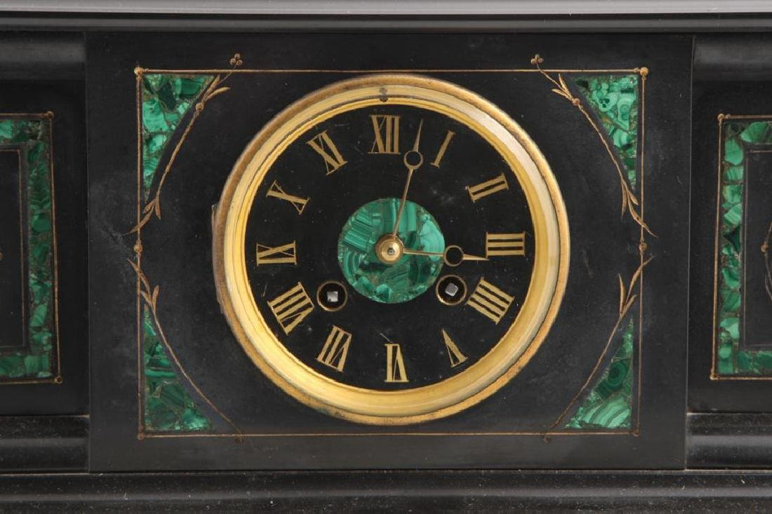 TIFFANY & CO BLACK ONYX & MALACHITE MANTLE CLOCK - 6