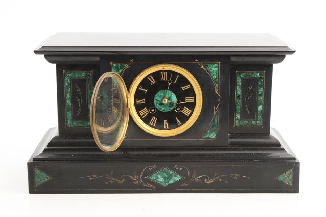 TIFFANY & CO BLACK ONYX & MALACHITE MANTLE CLOCK - 7