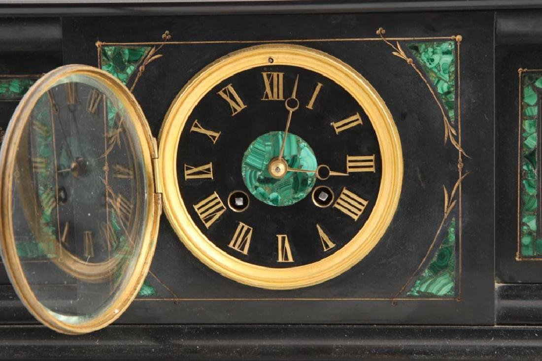 TIFFANY & CO BLACK ONYX & MALACHITE MANTLE CLOCK - 8