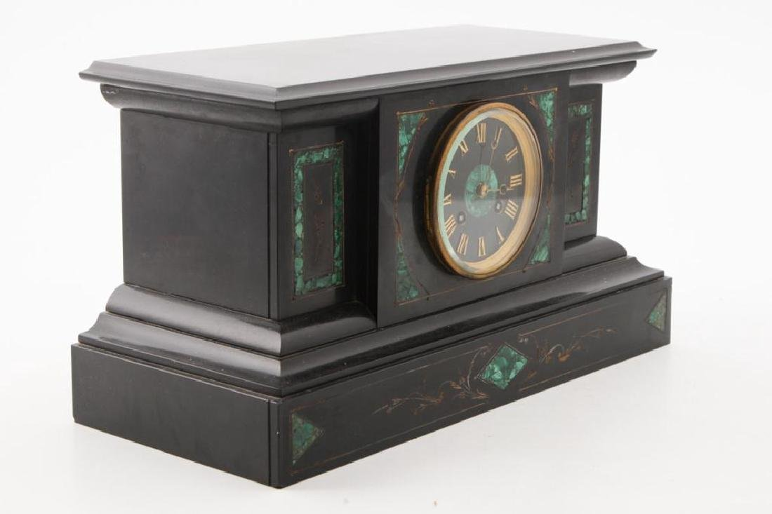 TIFFANY & CO BLACK ONYX & MALACHITE MANTLE CLOCK - 9