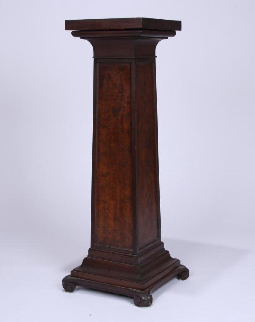 MAHOGANY AND BURL PEDESTAL attr. IRVING & CASSON