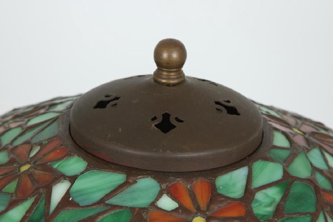 SIGNED HANDEL LEADED GLASS TABLE LAMP - 3