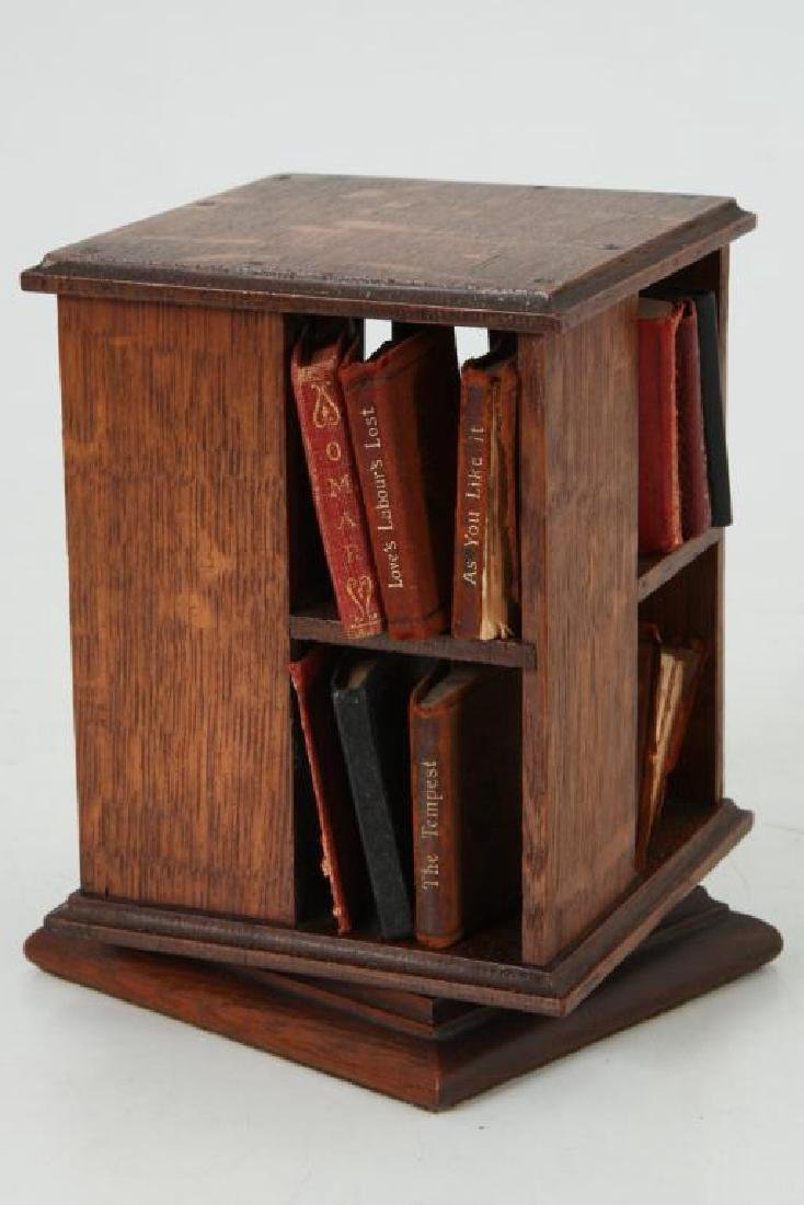 MINIATURE ROTATING BOOKCASE WITH BOOKS