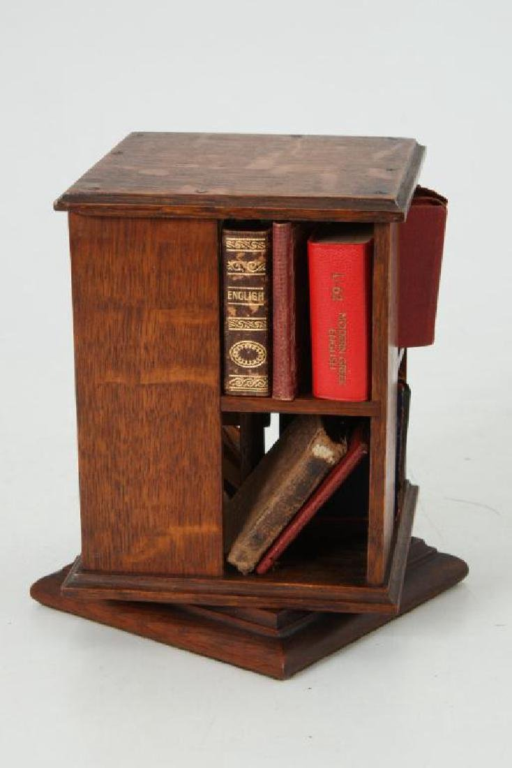 MINIATURE ROTATING BOOKCASE WITH BOOKS - 3