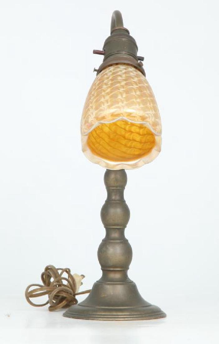 1920's BRASS DESK LAMP with ART GLASS SHADE - 5