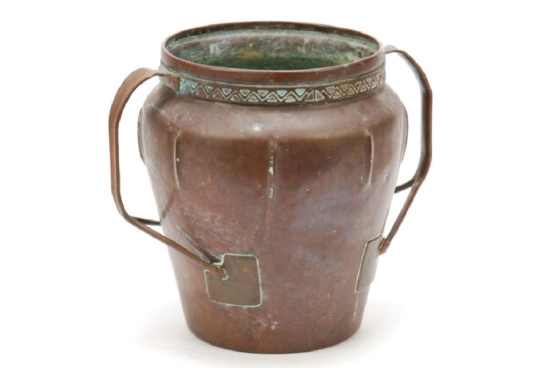 ARTS AND CRAFTS COPPER TWO HANDLED VASE - 7