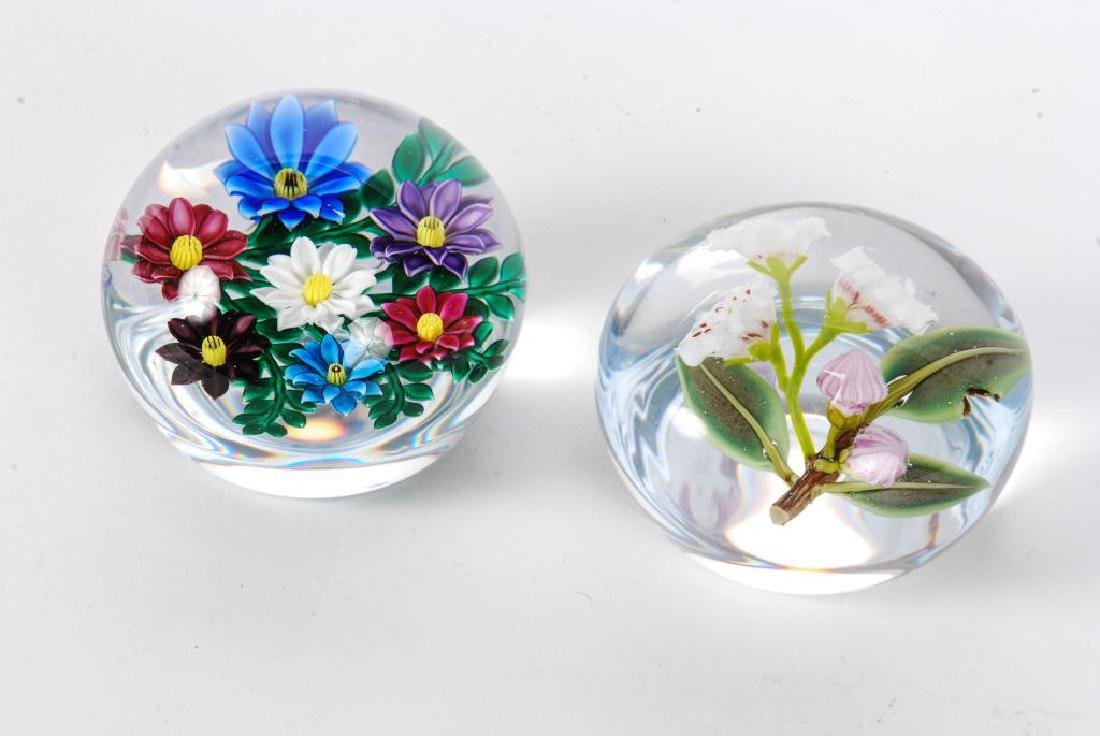 (2) FLORAL PAPERWEIGHTS by PAUL STANKARD & BOB BANFORD