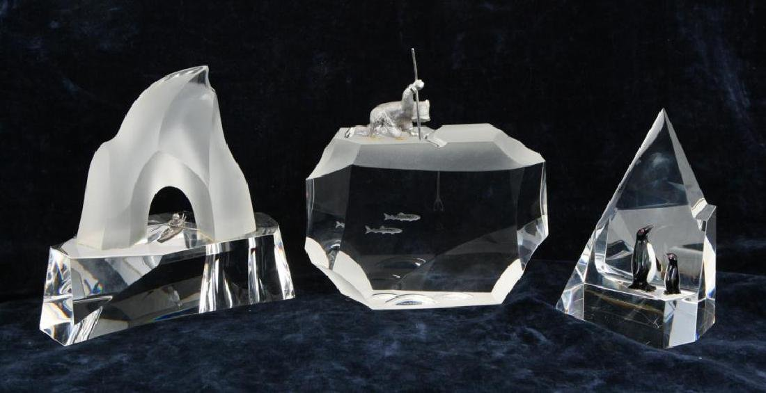 (3) GLASS AND CAST METAL ARTIC THEMED SCULPTURES