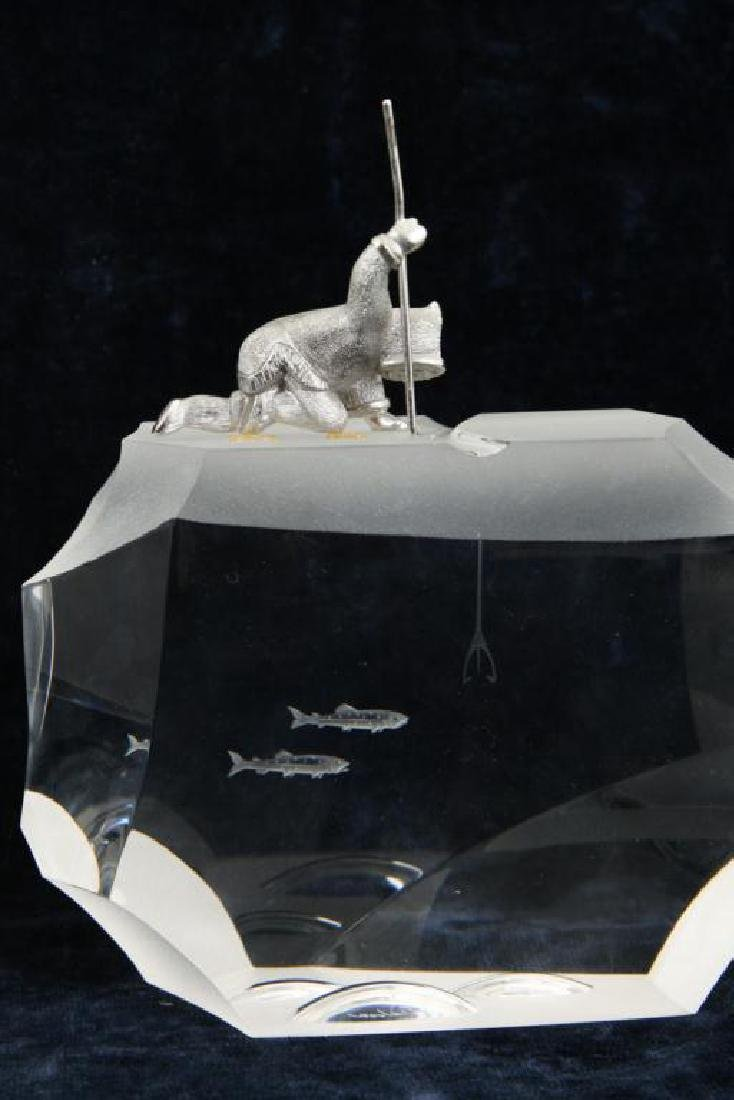 (3) GLASS AND CAST METAL ARTIC THEMED SCULPTURES - 7