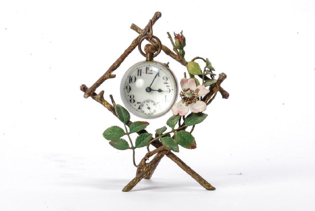 (19th c) PAPERWEIGHT CLOCK OF VIENNA BRONZE STAND
