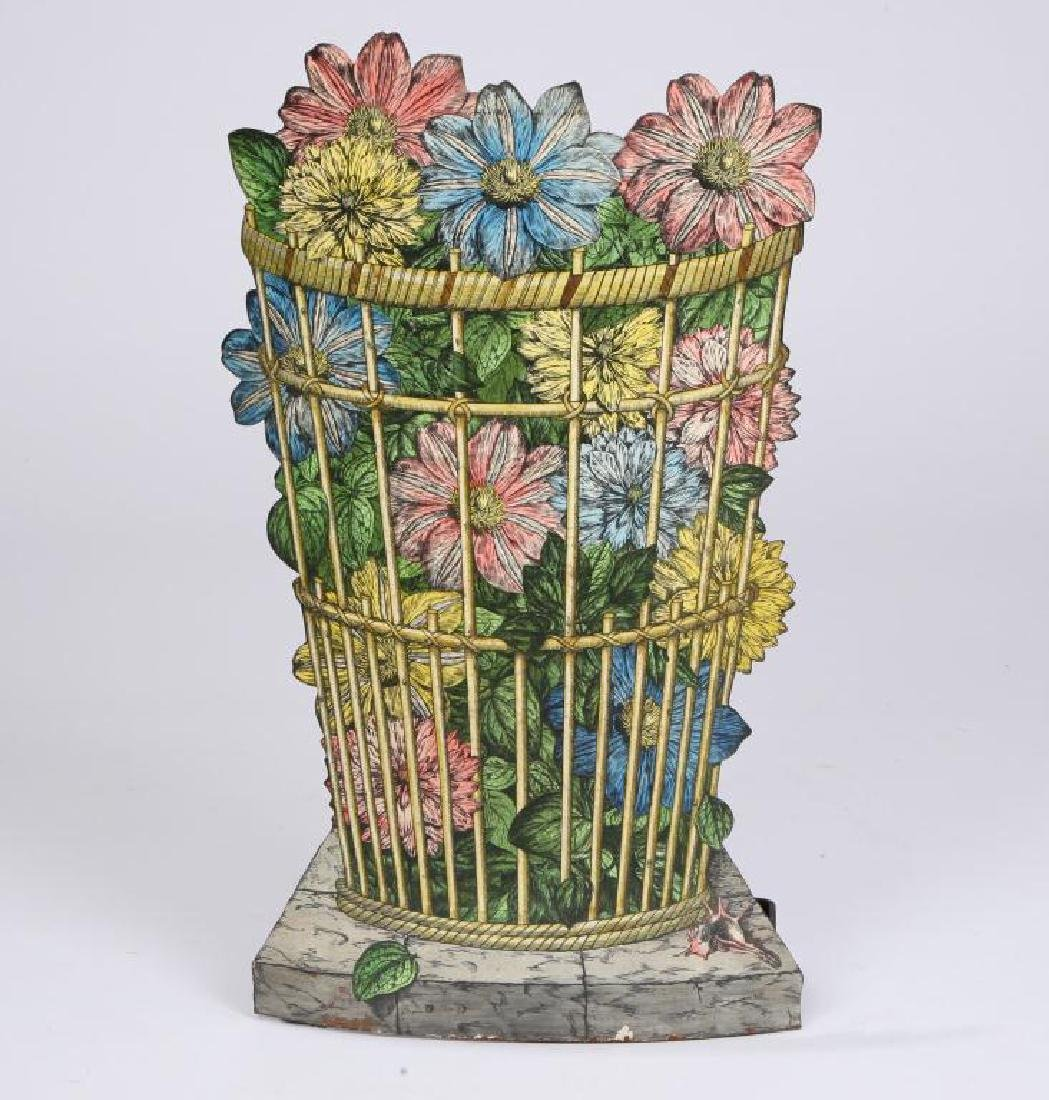 UNUSUAL UMBRELLA STAND WITH ENAMELLED BOUQUET