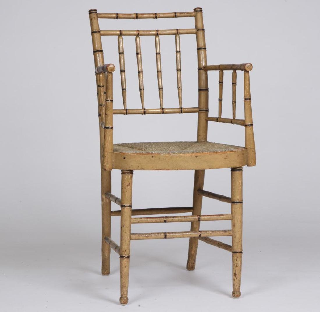 FAUX BAMBOO TURNED SHERATON PARLOR CHAIR c.1820
