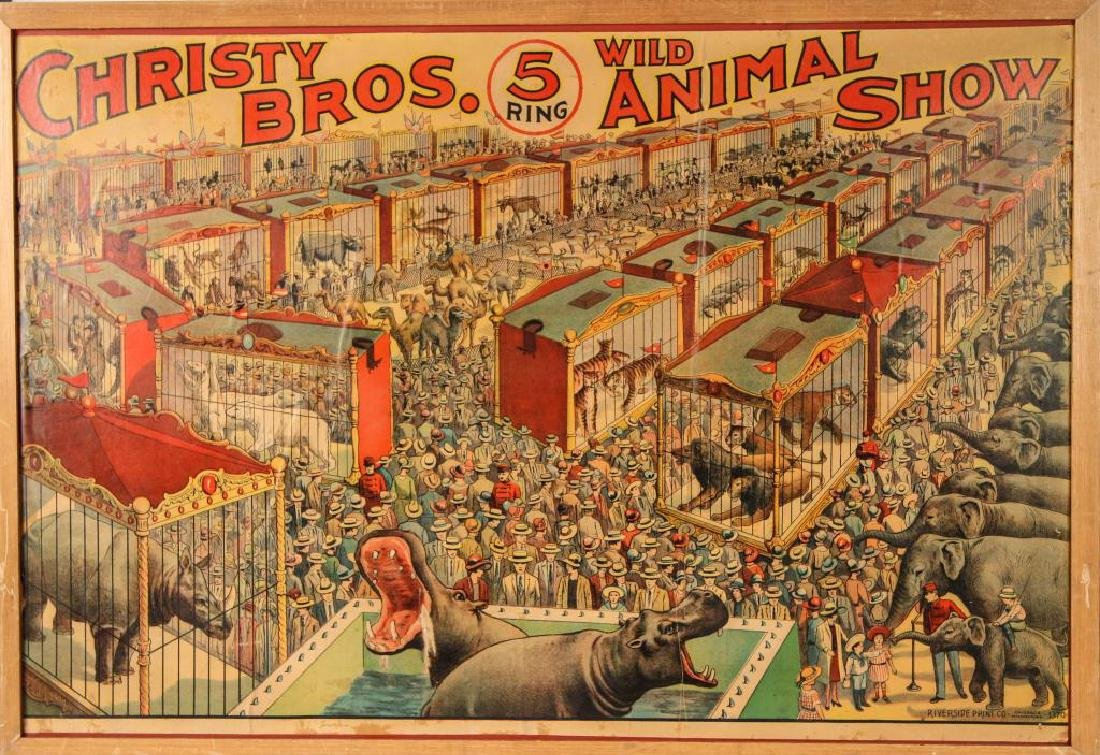(2) CIRCUS POSTERS WALTER L. MAIN & CHRISTY BROS. - 3