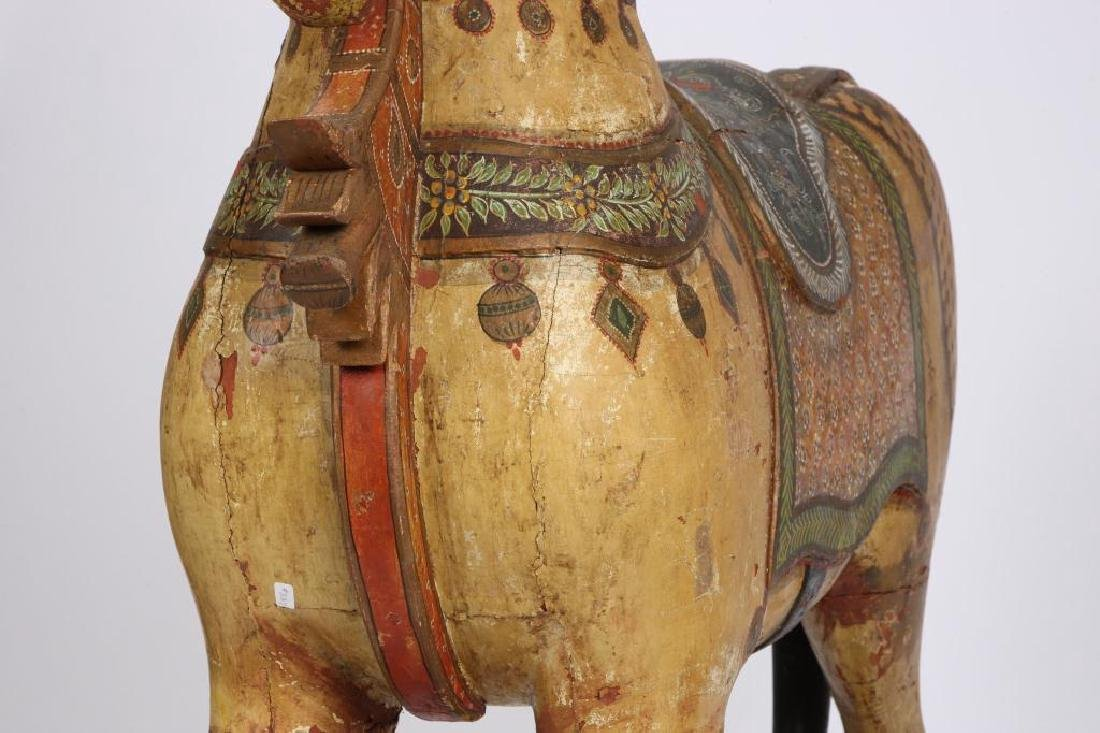 FULL SIZE CARVED AND PAINTED HORSE ON WHEELS - 2