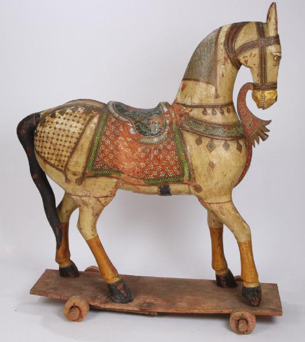 FULL SIZE CARVED AND PAINTED HORSE ON WHEELS - 4