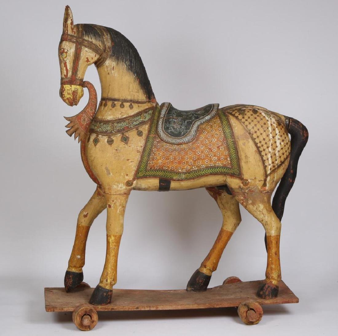 FULL SIZE CARVED AND PAINTED HORSE ON WHEELS - 7