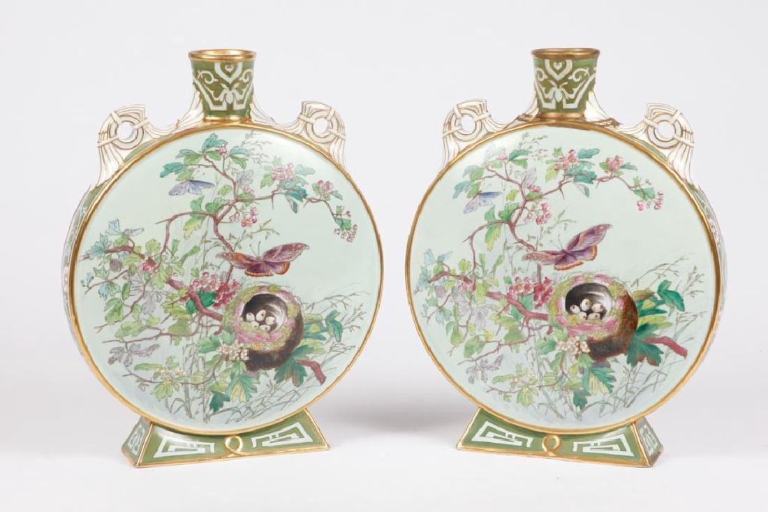 PAIR OF MINTON HAND PAINTED MOON VASES