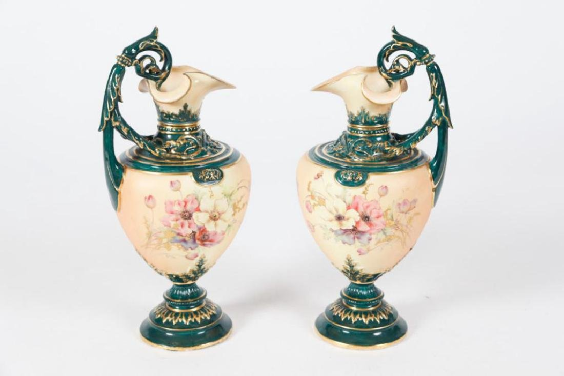 RARE AND UNUSUAL PAIR OF ROYAL WORCESTER VASES