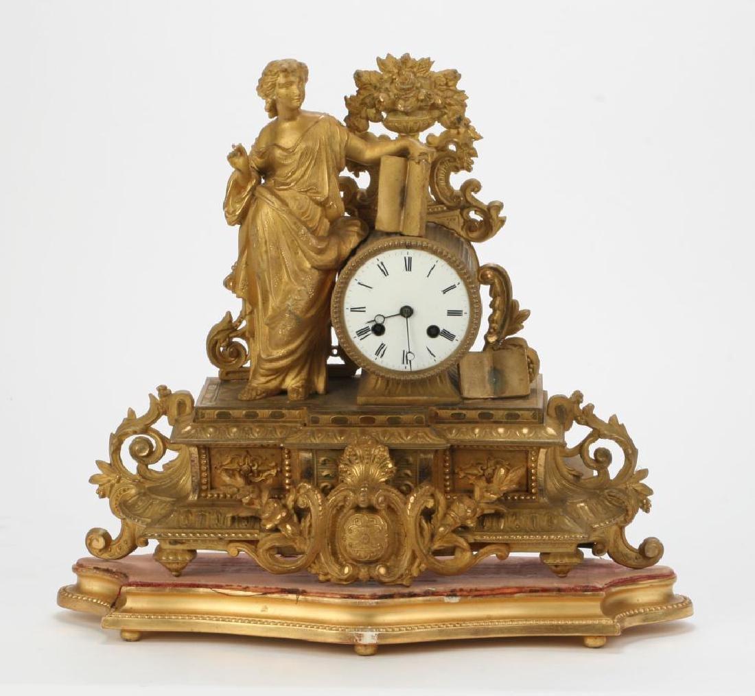 (19th c) FRENCH GILT FIGURAL SHELF CLOCK