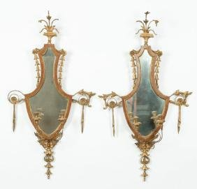 PAIR OF (19thc) GILT TWO-LIGHT SCONCES