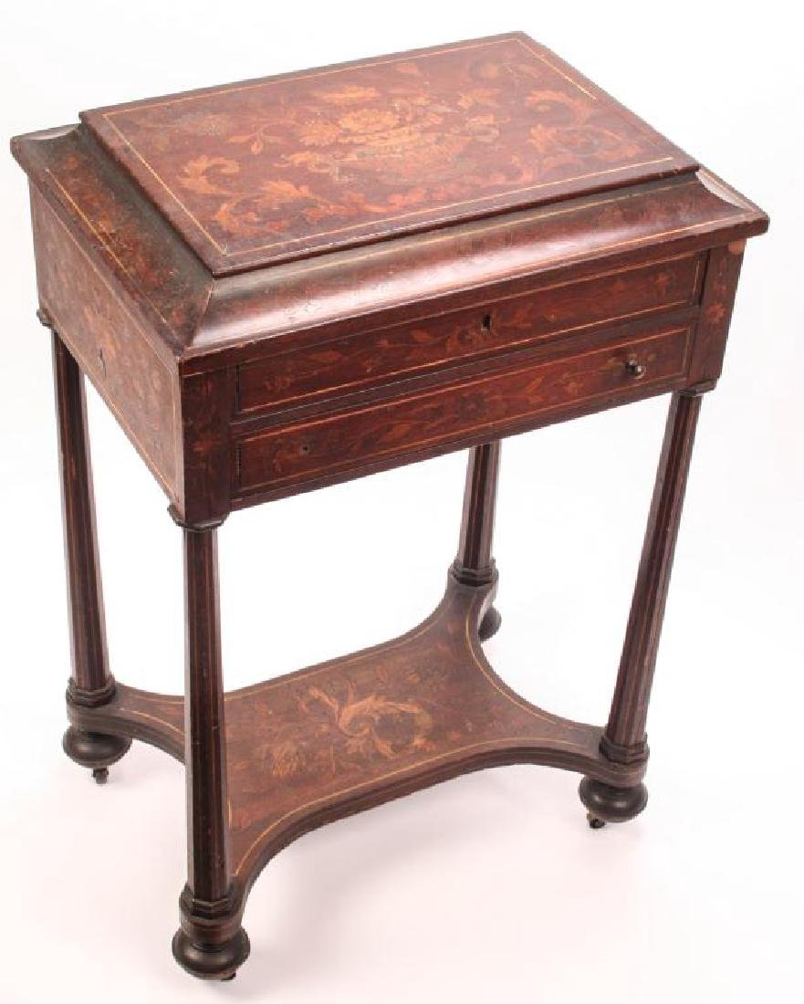 (19th c) MARQUETRY INLAY ONE DRAWER VANITY - 10