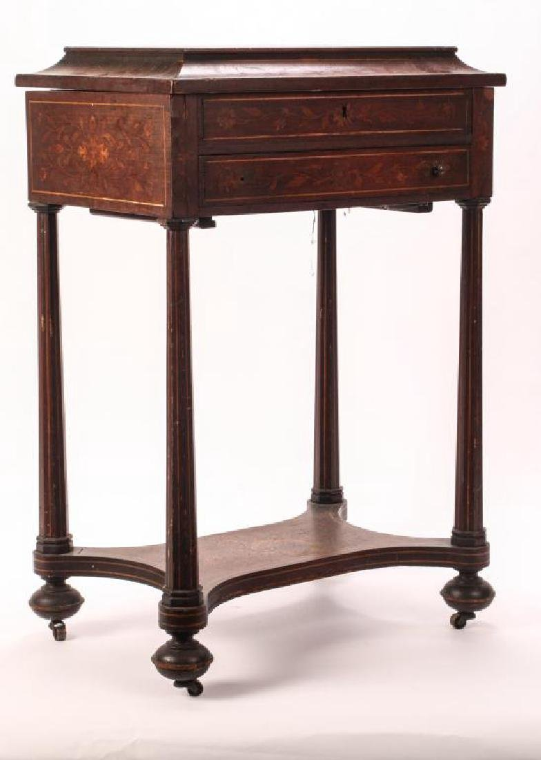 (19th c) MARQUETRY INLAY ONE DRAWER VANITY