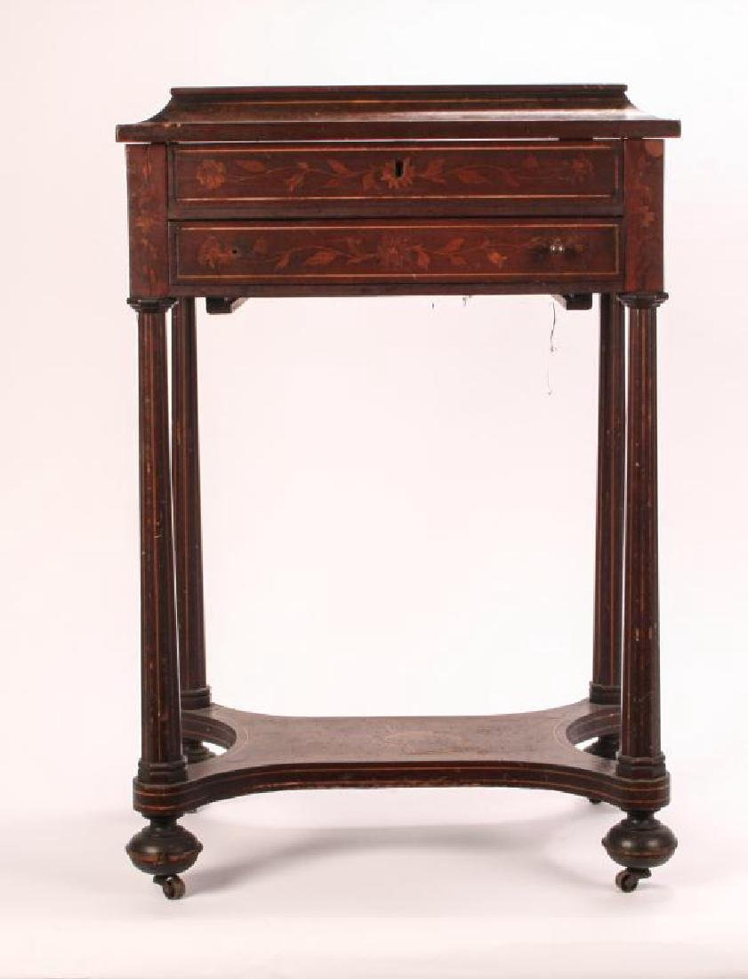(19th c) MARQUETRY INLAY ONE DRAWER VANITY - 3