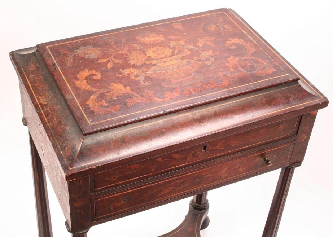 (19th c) MARQUETRY INLAY ONE DRAWER VANITY - 8