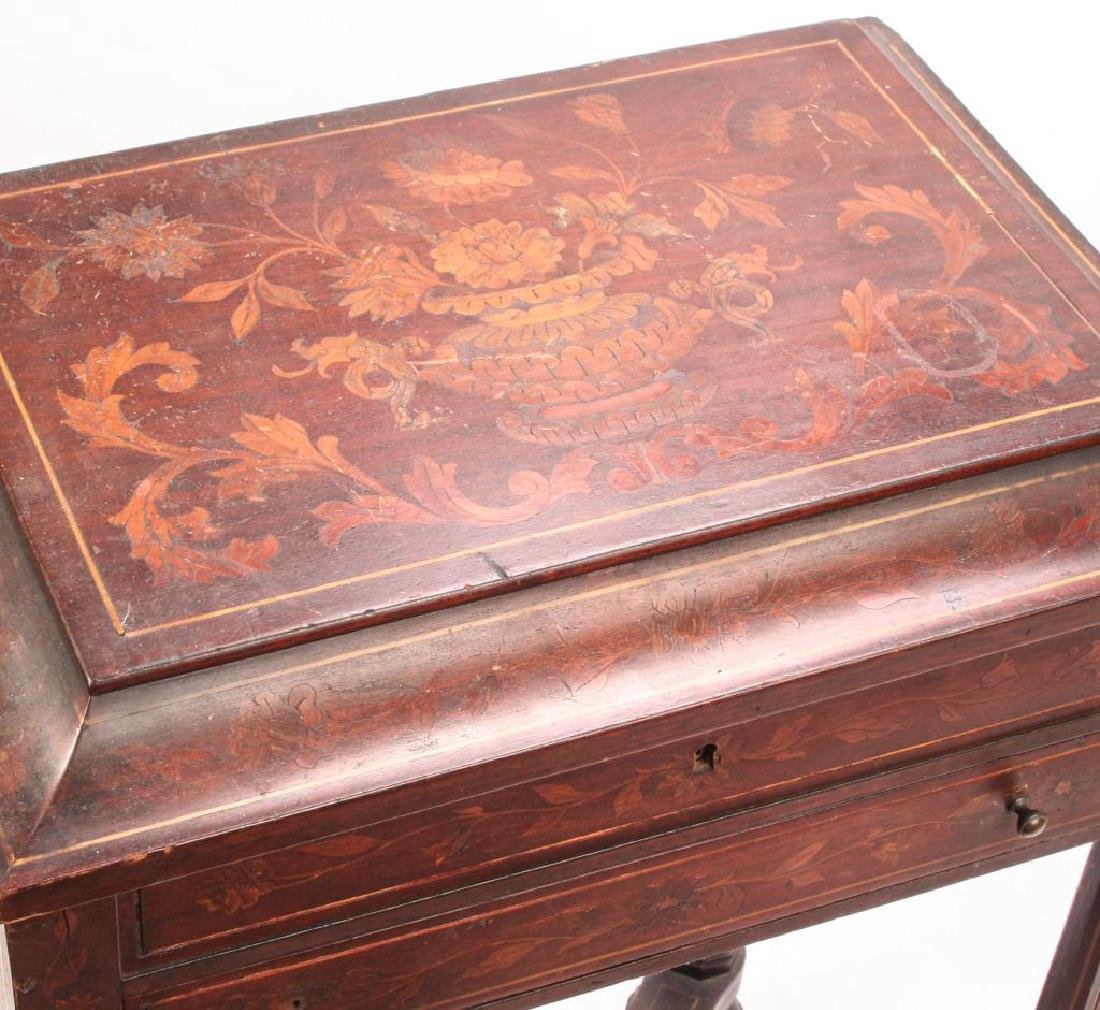 (19th c) MARQUETRY INLAY ONE DRAWER VANITY - 9