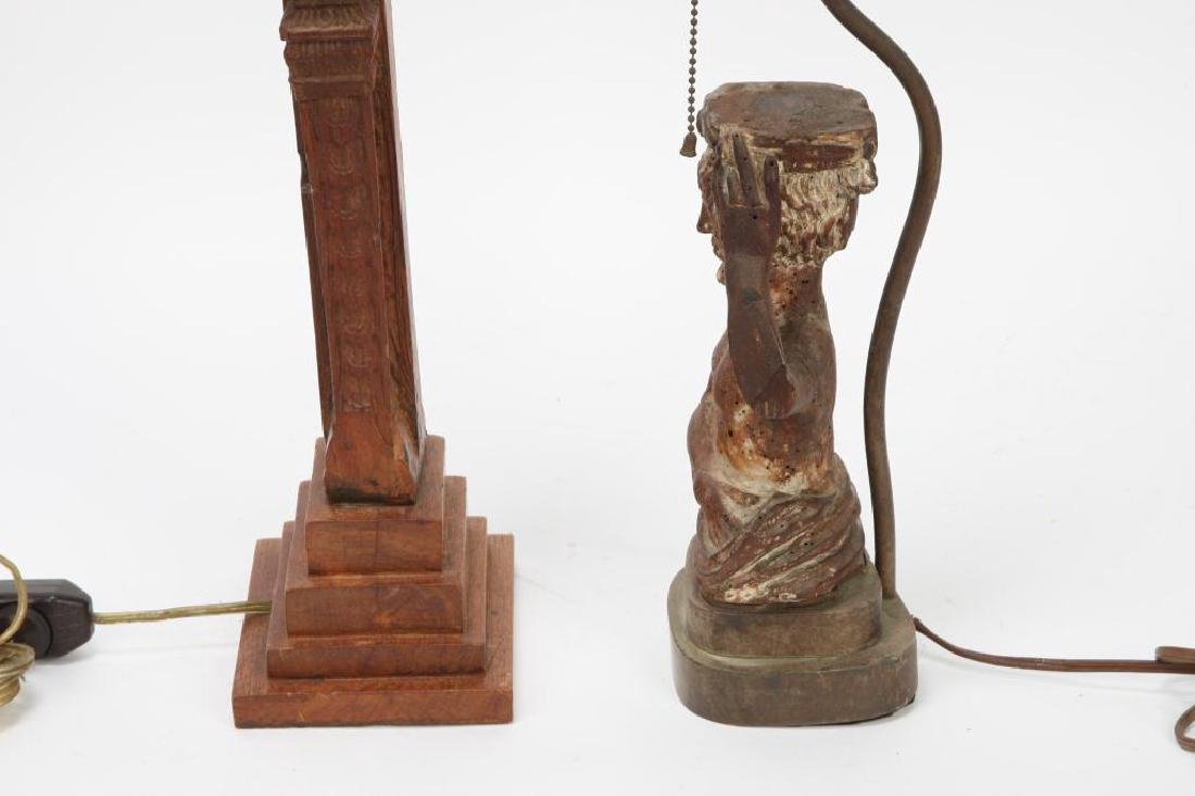 (2) FIGURAL CARVED WOODEN TABLE LAMP BASES - 10