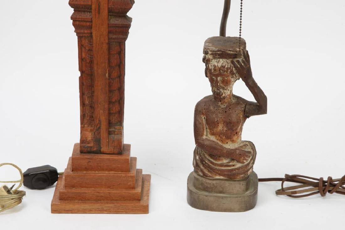 (2) FIGURAL CARVED WOODEN TABLE LAMP BASES - 4