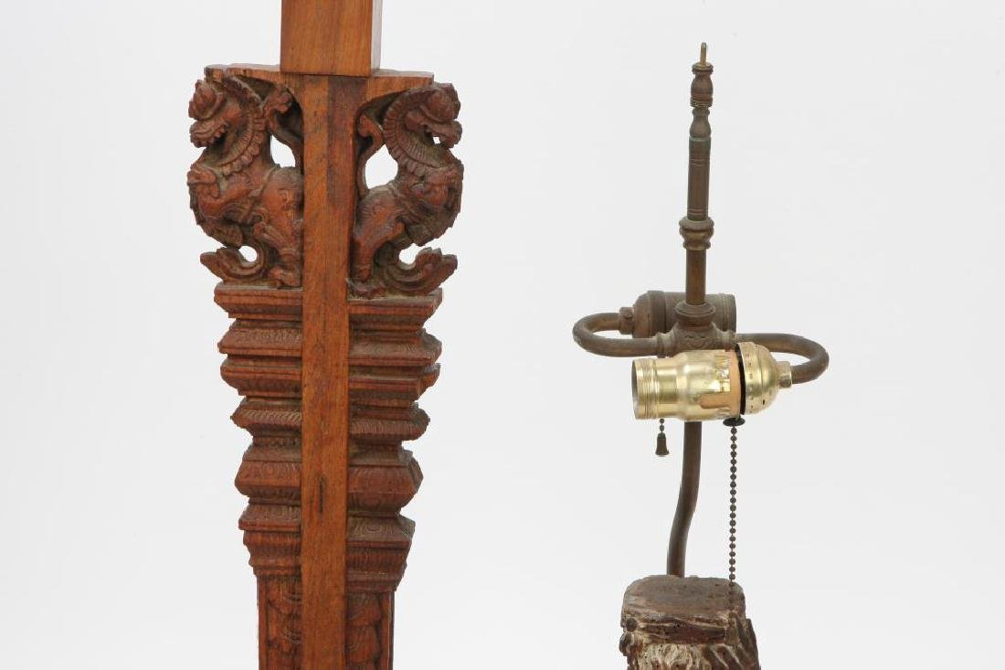 (2) FIGURAL CARVED WOODEN TABLE LAMP BASES - 5