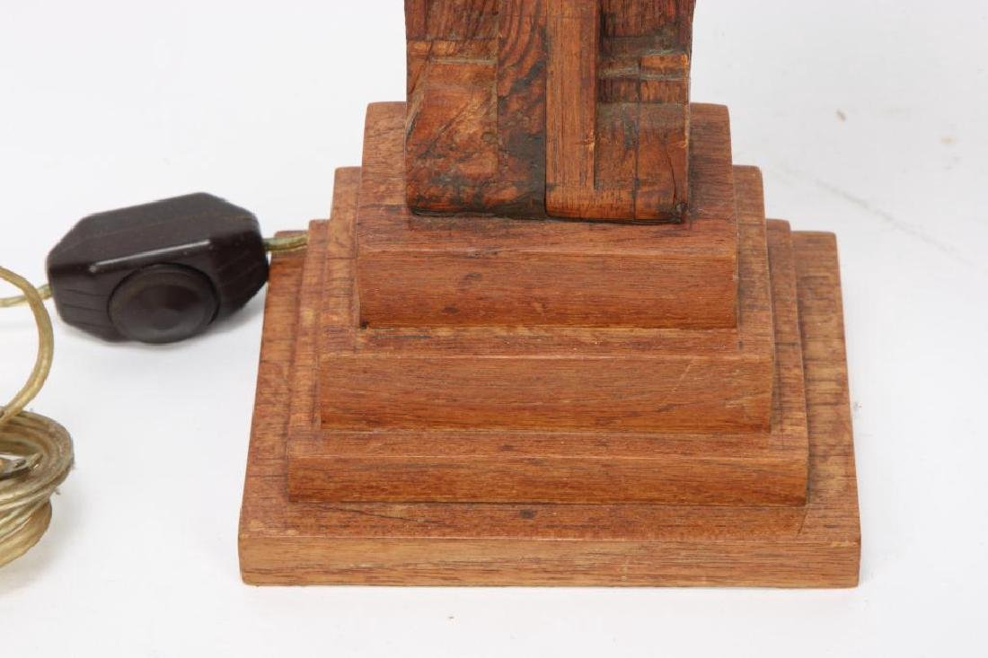 (2) FIGURAL CARVED WOODEN TABLE LAMP BASES - 7