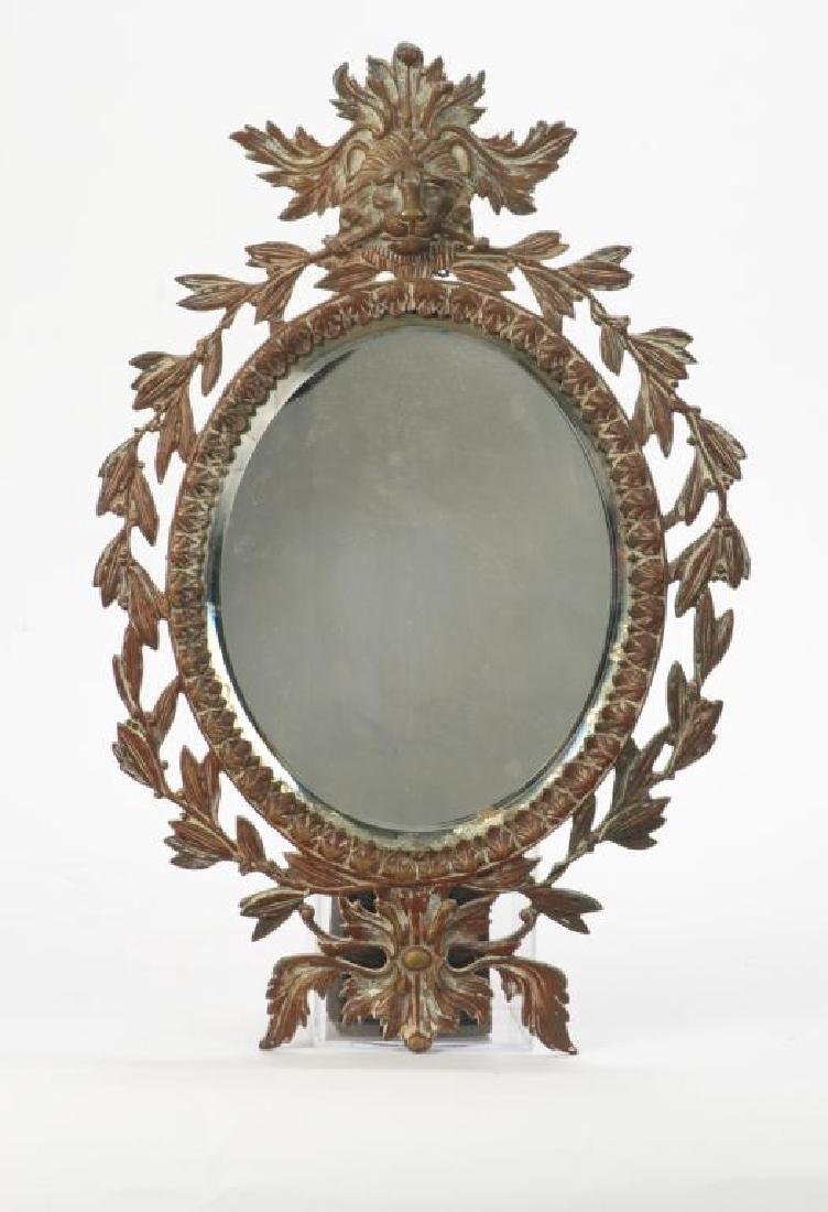 FRENCH CAST BRONZE WALL MIRROR with LION & LAUREL