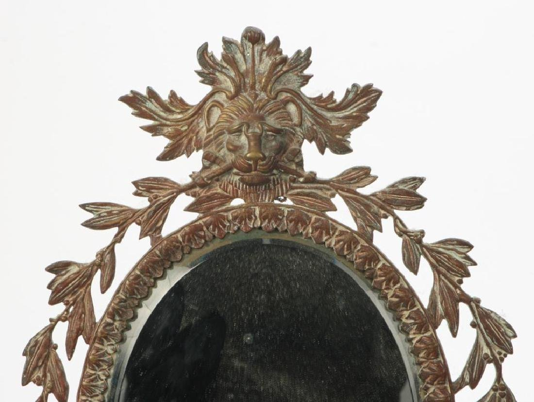FRENCH CAST BRONZE WALL MIRROR with LION & LAUREL - 4