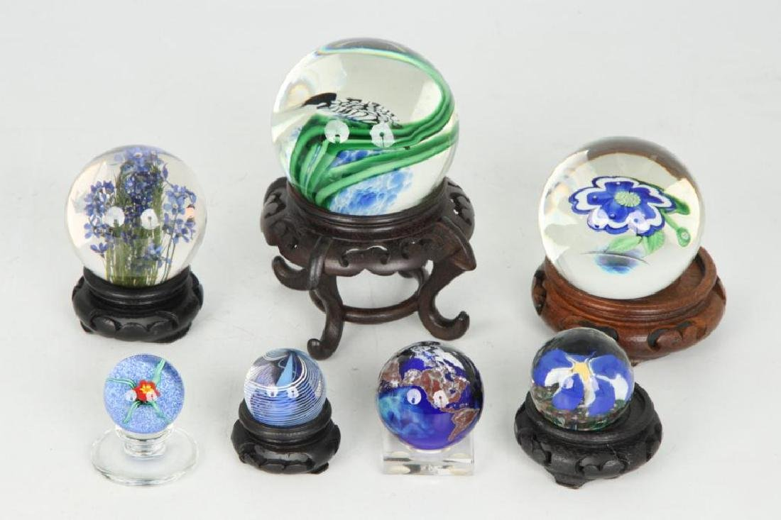 (6) GLASS PAPERWEIGHTS and MARBLE