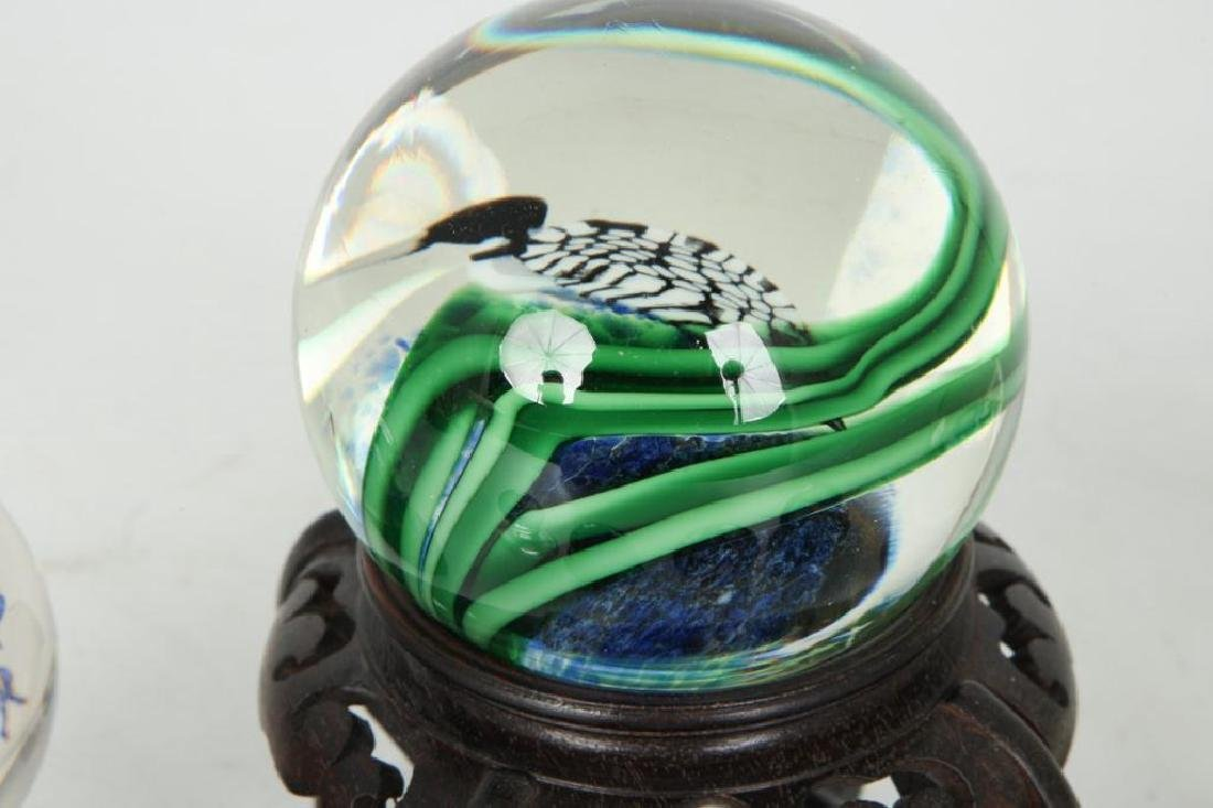 (6) GLASS PAPERWEIGHTS and MARBLE - 3