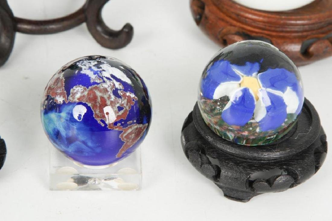 (6) GLASS PAPERWEIGHTS and MARBLE - 5