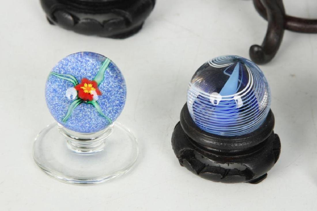 (6) GLASS PAPERWEIGHTS and MARBLE - 6
