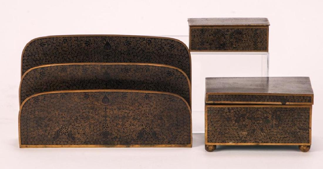 (3) PIECE CLOISONNE DESK SET IN BLACK ENAMEL