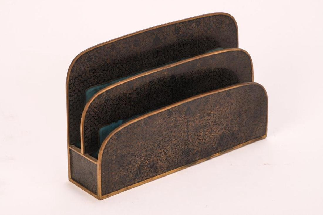 (3) PIECE CLOISONNE DESK SET IN BLACK ENAMEL - 6