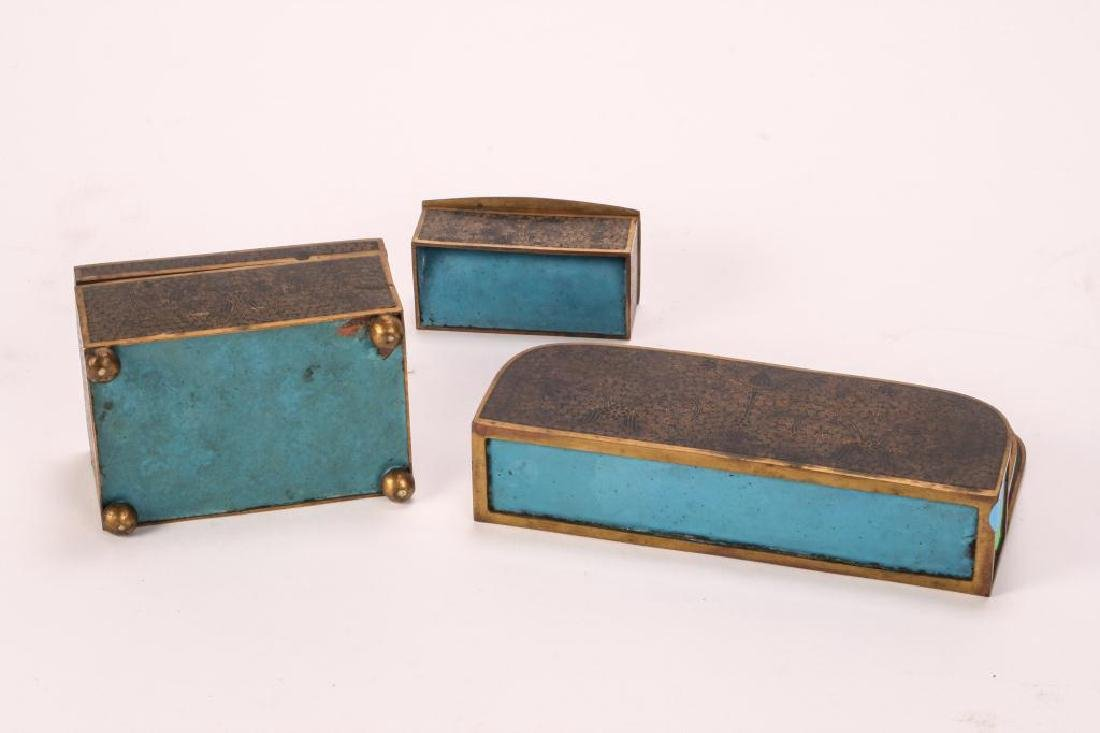 (3) PIECE CLOISONNE DESK SET IN BLACK ENAMEL - 9